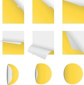 Curved corner paper set yellow  Sticky papers with page curls Round and square