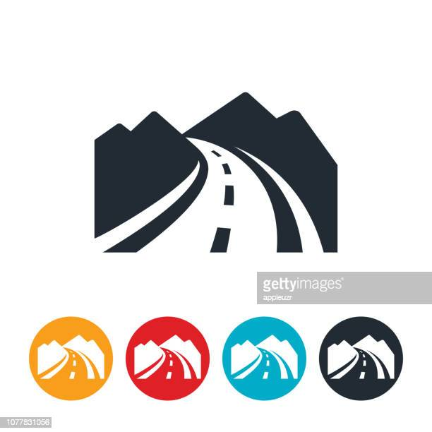curved mountain road icon - mountain road stock illustrations