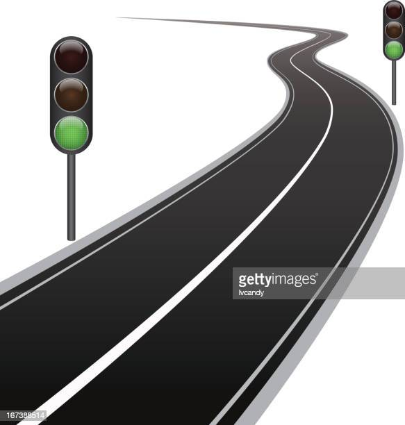 curved road and traffic lights - running track stock illustrations, clip art, cartoons, & icons
