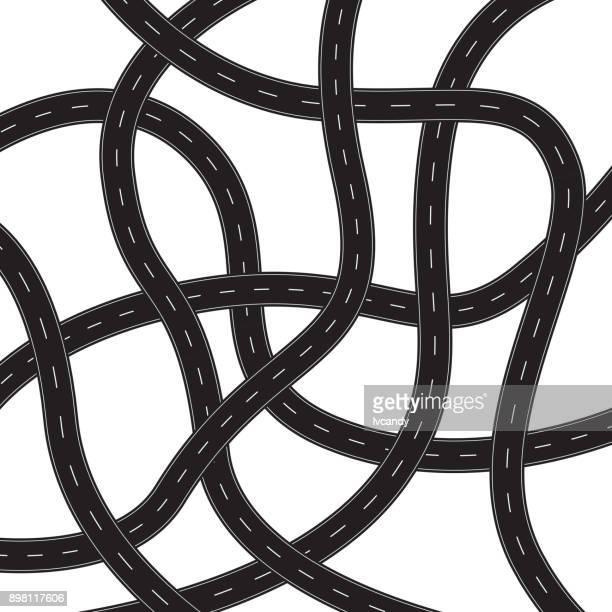 curved roads - bending stock illustrations
