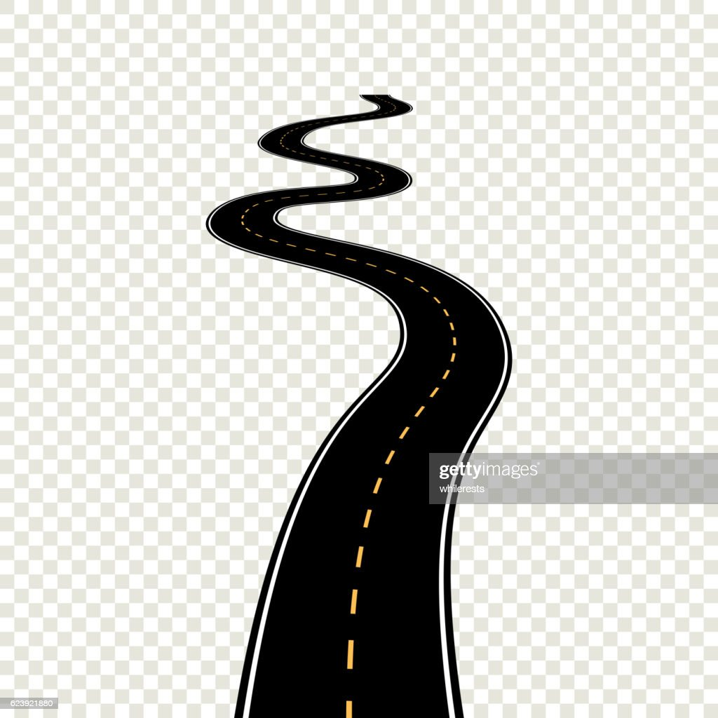 Curved winding road with white markings. Vector illustration eps