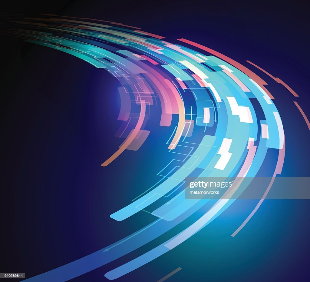curving ray of light, abstract image, vector illustration