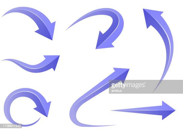 curvy arrow set - curve stock illustrations