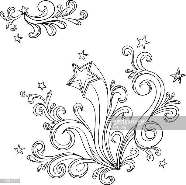 curvy designs with stars in black and white - bling bling stock illustrations, clip art, cartoons, & icons