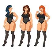 Curvy women in underwear.