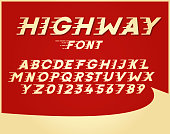 Custom font in italic style with motion elements. Speed highly costumized alphabet. Vector typography with a vintage retro poster style