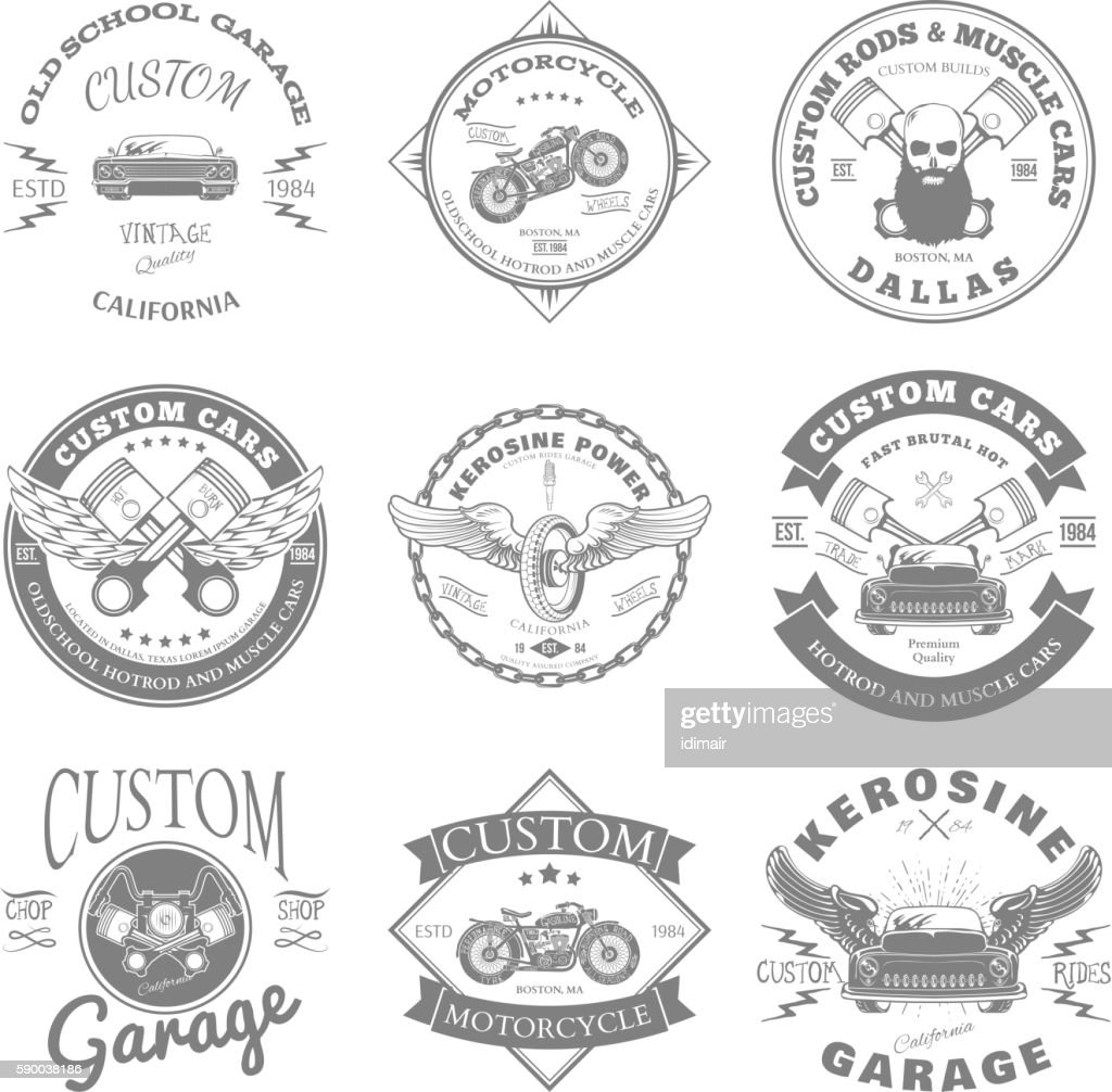 Custom Garage Label and Badges Design. Vector