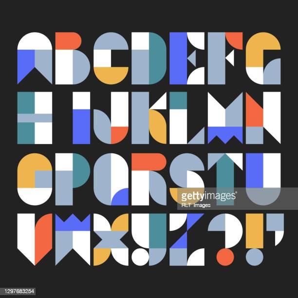 抽象的な幾何学的形状で作られたカスタム書体アルファベット - abc点のイラスト素材/クリップアート素材/マンガ素材/アイコン素材