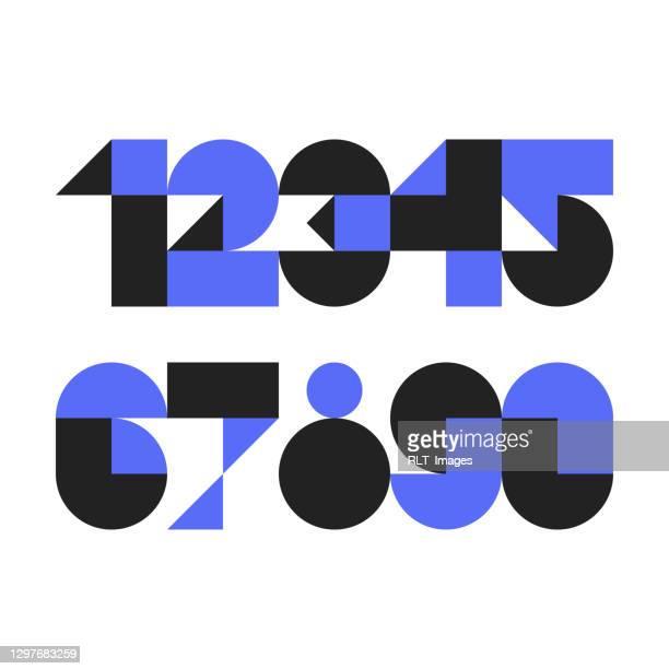 抽象的な幾何学的形状で作られたカスタム書体番号 - 角度点のイラスト素材/クリップアート素材/マンガ素材/アイコン素材
