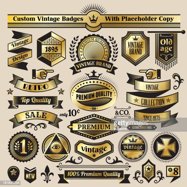 custom vintage quality black & gold banners, badges, and symbols - award plaque stock illustrations, clip art, cartoons, & icons
