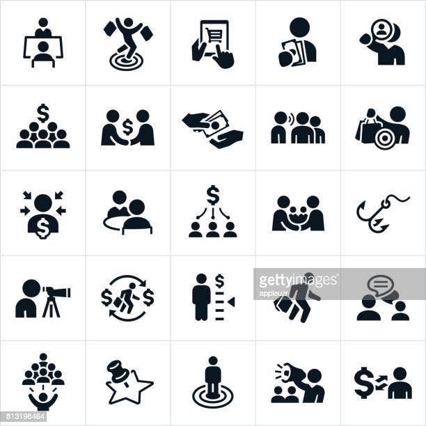 customer acquisition icons - consumerism stock illustrations