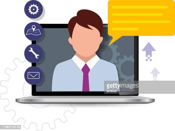 illustrazioni stock, clip art, cartoni animati e icone di tendenza di assistenza clienti exec - rappresentare