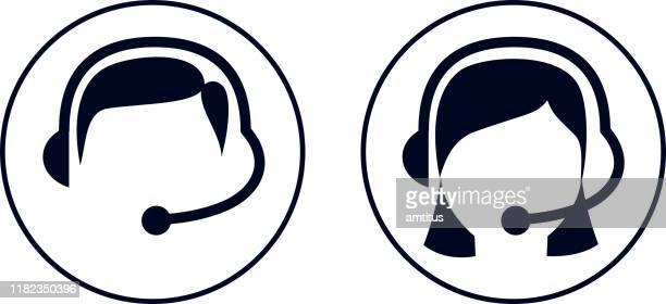 illustrazioni stock, clip art, cartoni animati e icone di tendenza di assistenza clienti maschio e femmina - call center