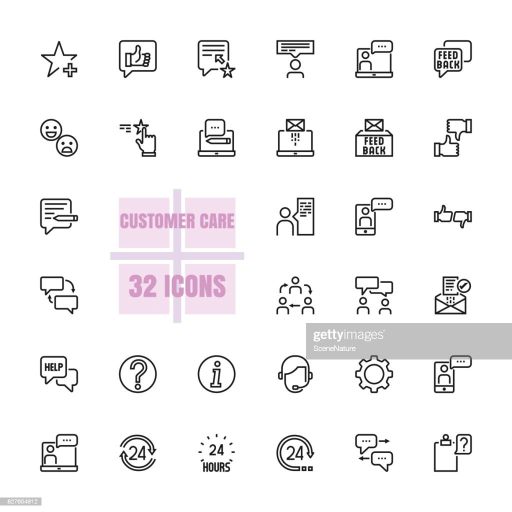 Customer care vector line 48x48 Pixel Perfect 32 icon set