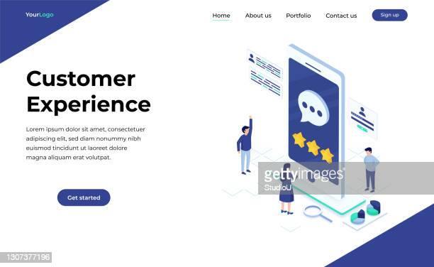 kundenspezifisches konzept für die kundenerfahrung - responsives webdesign stock-grafiken, -clipart, -cartoons und -symbole