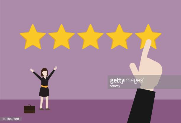 customer gives five-star reviews to businesswoman - customer focused stock illustrations