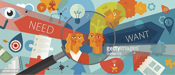 customer needs analysis horizontal - market research stock illustrations