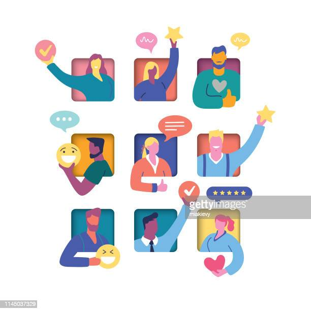 顧客評価コンセプト - 親指を立てる点のイラスト素材/クリップアート素材/マンガ素材/アイコン素材