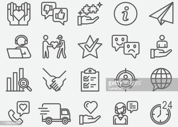 kundenbeziehungs- und servicezeilensymbole - kundenbeziehungsmanagement stock-grafiken, -clipart, -cartoons und -symbole