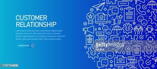 kundenbeziehung banner vorlage mit liniensymbolen. moderne vektor-illustration für werbung, header, website. - kundenbeziehungsmanagement stock-grafiken, -clipart, -cartoons und -symbole