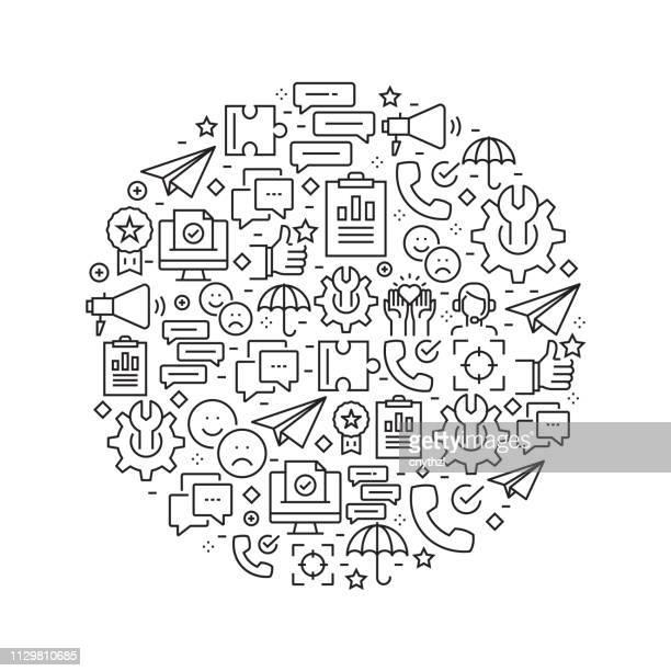 kunden beziehung konzept - black and white line symbole im kreis angeordnet - kundenbeziehungsmanagement stock-grafiken, -clipart, -cartoons und -symbole