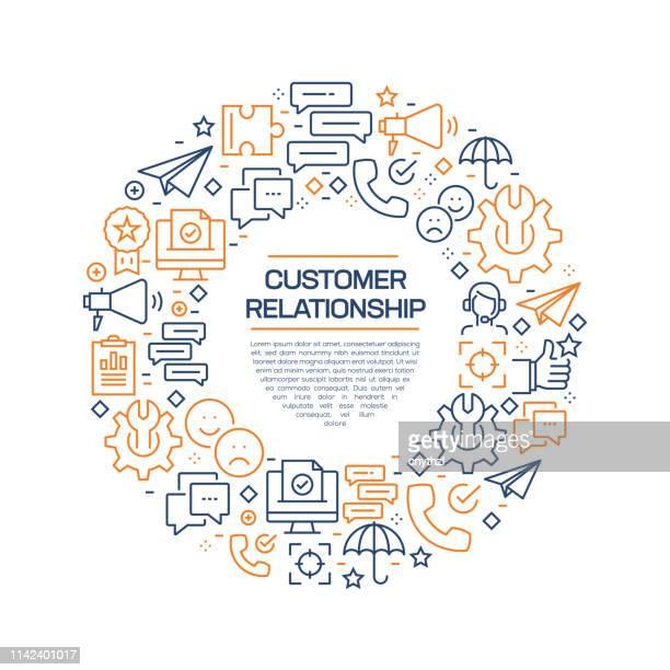 customer relationship concept-colorful line icons, arrangiert im kreis - kundenbeziehungsmanagement stock-grafiken, -clipart, -cartoons und -symbole