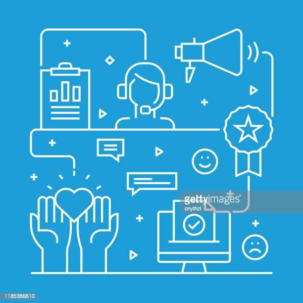 entwurfsvorlage für das konzeptkonzept für kundenbeziehungen. gliederungssymbol abstrakt - kundenbeziehungsmanagement stock-grafiken, -clipart, -cartoons und -symbole