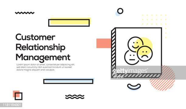 customer relationship concept. geometrisches retro style banner und poster-konzept mit kundenbeziehungssymbol - kundenbeziehungsmanagement stock-grafiken, -clipart, -cartoons und -symbole