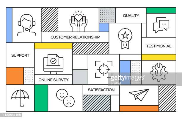 Customer Relationship Concept. Geometric Retro Style Banner and Poster Concept with Customer Relationship Line Icons