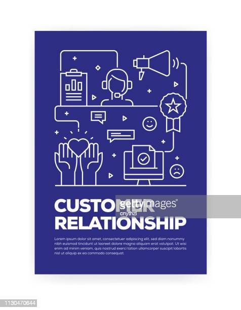 customer relationship concept line style cover design for annual report, flyer, brochure. - customer service representative stock illustrations, clip art, cartoons, & icons