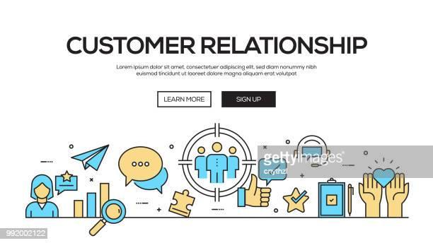 Customer Relationship Flat Line Web Banner Design