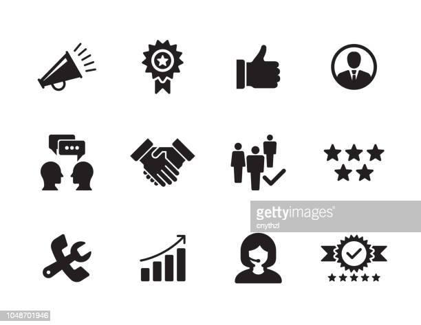 ilustraciones, imágenes clip art, dibujos animados e iconos de stock de conjunto de iconos de relación cliente - lealtad