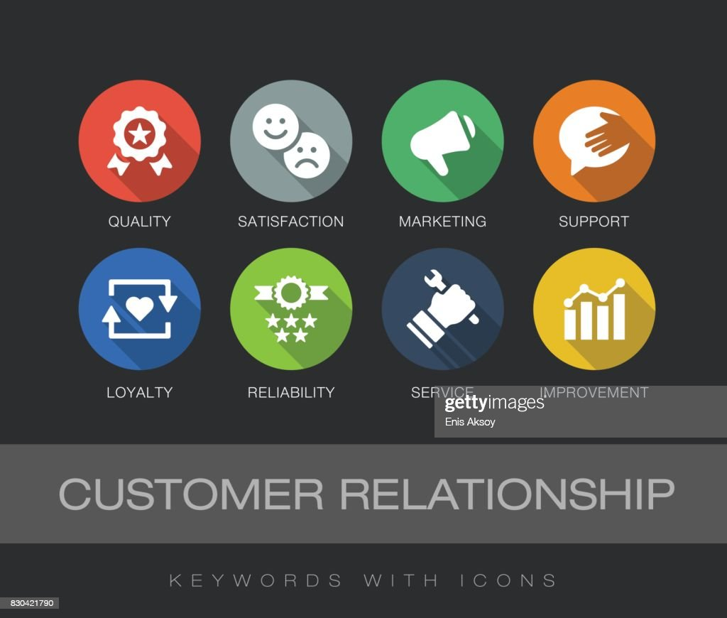 Customer Relationship keywords with icons : stock illustration