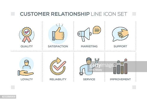 customer relationship keywords with line icons - loyalty stock illustrations
