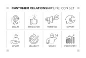 Customer Relationship keywords with monochrome line icons