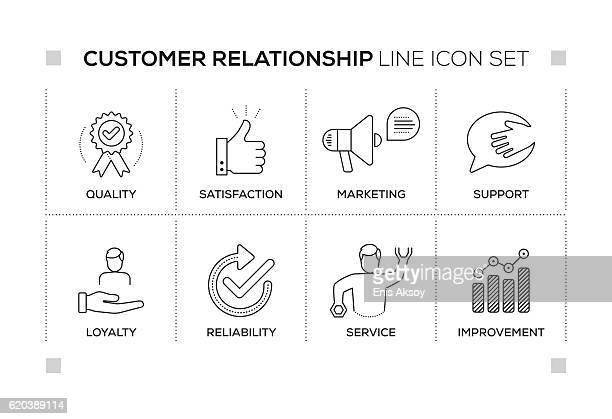 illustrazioni stock, clip art, cartoni animati e icone di tendenza di customer relationship keywords with monochrome line icons - affidabilità
