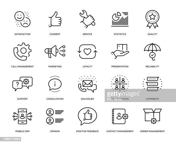 customer relationship management icon set - consumerism stock illustrations