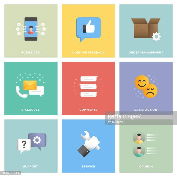 customer relationship management icon set - permission concept stock illustrations