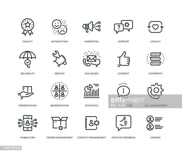 customer relationship management icons - line series - marketing stock illustrations