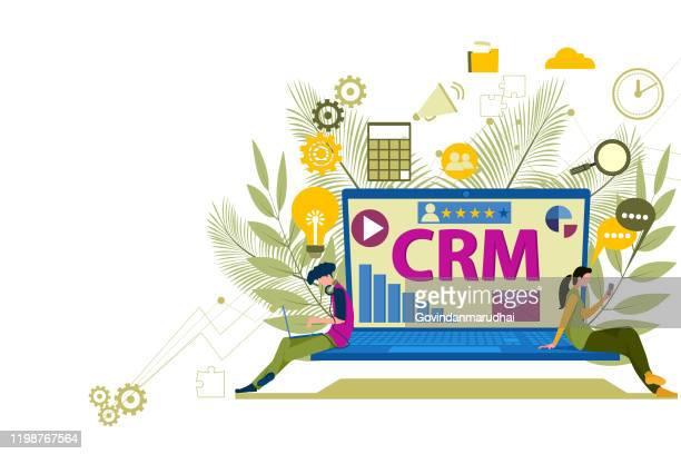 crm - kundenbeziehungsmanagement - kundenbeziehungsmanagement stock-grafiken, -clipart, -cartoons und -symbole