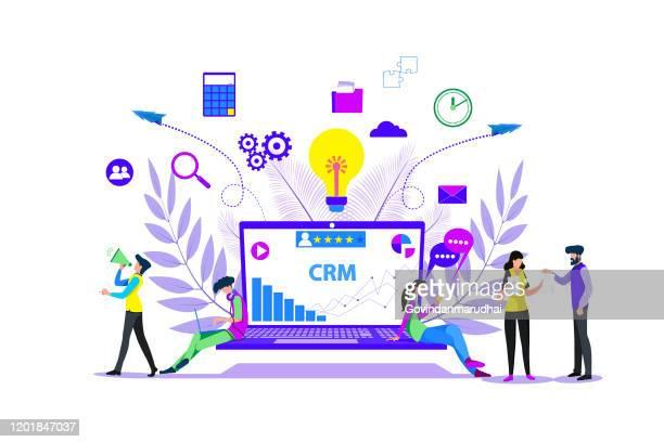 crm - customer relationship management - adult stock illustrations