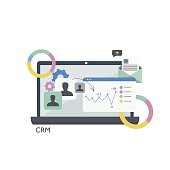 CRM. Customer relationship management.Laptop, tables and graphs