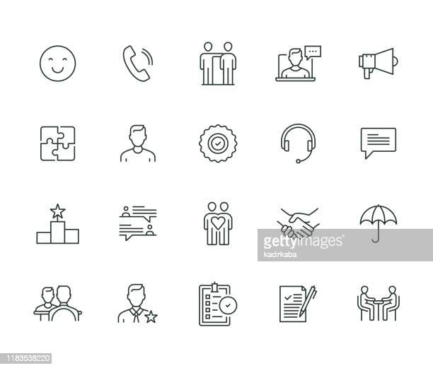 customer relationship thin line series - concentration stock illustrations