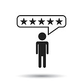 Customer reviews, rating, user feedback concept vector icon. Flat illustration on white background.