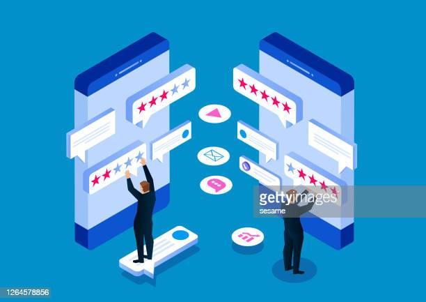 stockillustraties, clipart, cartoons en iconen met klantbeoordelingen, service-evaluatie, feedback, ratingsysteem isometrisch concept - feedback