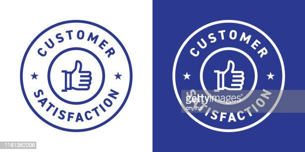 customer satisfaction badge design - consumerism stock illustrations