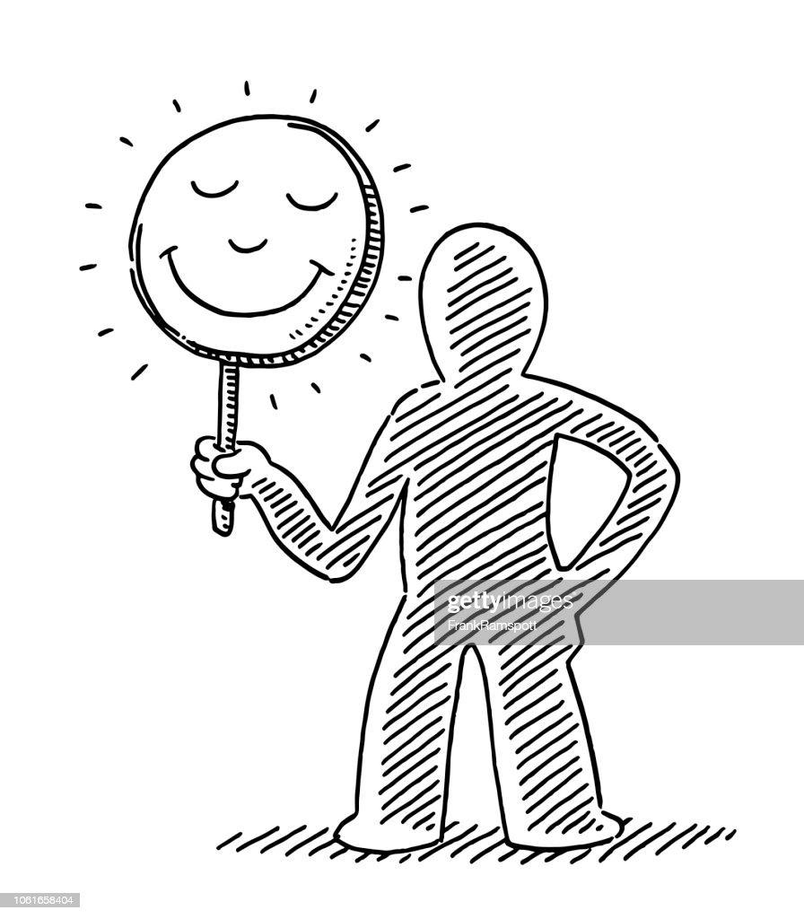 Kundenzufriedenheit Konzept menschliche Figur halten Lächeln Zeichnung zu unterzeichnen : Vektorgrafik