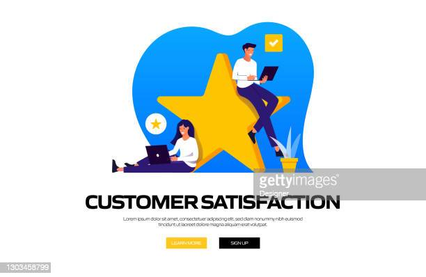 customer satisfaction concept vector illustration for website banner, advertisement and marketing material, online advertising, business presentation etc. - admiration stock illustrations