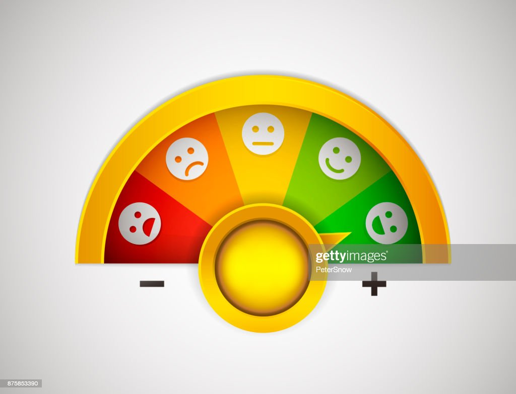 Customer satisfaction meter with button, arrow and emotions that go from the most negative to the most positive. Vector illustration