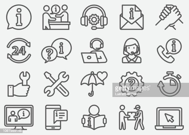 customer service and support line icons - information medium stock illustrations